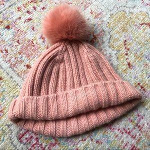 JCrew Pink Knit Beanie with Pink PomPom